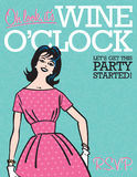 Wine O'Clock Retro Party Invitation vector illustration