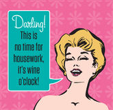 Wine O'Clock Retro Vector Graphic Royalty Free Stock Image