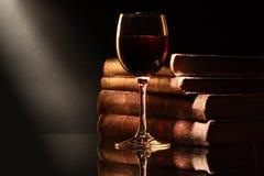 Wine och bokar royaltyfri foto