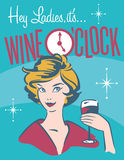 Wine O'clock retro wine design Royalty Free Stock Photos