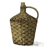 Wine old traditional braided bottle hand drawn engraved  looking vintage illustration Stock Photos