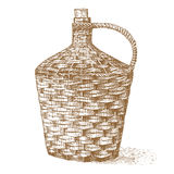 Wine old traditional braided bottle hand drawn engraved old looking vintage illustration Royalty Free Stock Photo