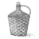 Wine old traditional braided bottle hand drawn engraved old looking vintage illustration Royalty Free Stock Image