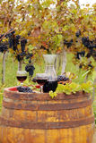 Wine on old wooden barrel Royalty Free Stock Photos