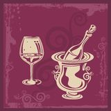 Wine Ornamental Background. Wine related background, great for celebration and wedding invitations Stock Photo