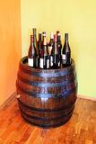 Wine over wood barrel Stock Image