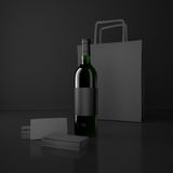 Wine and packing bags Stock Photography