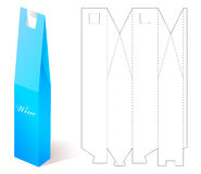 Wine Paper Box With Blueprint Template. Stock Photo