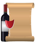 Wine parchment. Illustration of parchment with glass and bottle of wine Stock Images