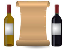 Wine parchment. Illustration of parchment with two wine bottles Royalty Free Stock Photo