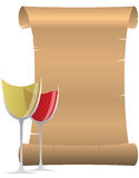 Wine parchment. Illustration of parchment with two wine glass Stock Photography