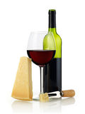 Wine and parmesan cheese Stock Images