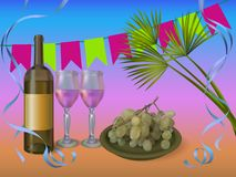 Wine party concept illustration - vector wine bottle with glasses and grapes Stock Images