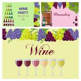 Wine Party Poster with Glasses Line and Grapes vector illustration