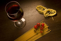 Wine and pasta Stock Photography