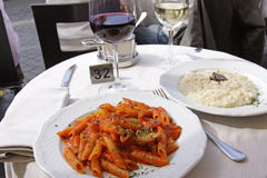 Wine and Pasta Outside Stock Images