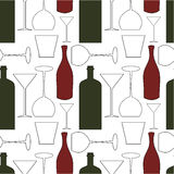 Wine pattern. Wine bottles and glasses - seamless pattern background Royalty Free Stock Photos