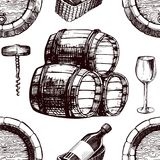 Wine pattern sketch background vector seamless winemaking barrel, grape vine glass and corkscrew Royalty Free Stock Image
