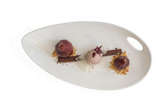 Wine pear, ice cream and brownie desert Royalty Free Stock Photos