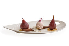 Wine pear, icecream and browny desert Royalty Free Stock Image