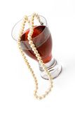 Wine and pearls Royalty Free Stock Images