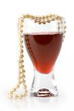 Wine and pearls 2 Stock Photography