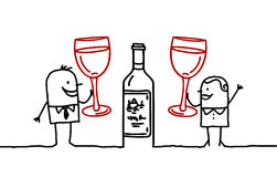 Wine & people. Vector hand-drawn characters on line Royalty Free Stock Photos