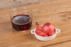 Wine and pickled onions Stock Image