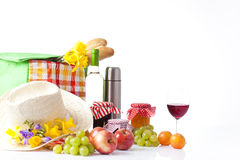 Wine and picnic food Stock Image