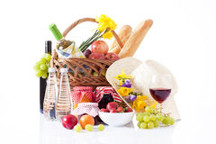 Wine and picnic food, luxury date Royalty Free Stock Images