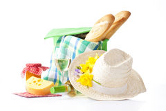 Wine and picnic food, summer picninc Stock Photography
