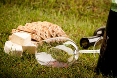 Wine picnic on grass Stock Photo