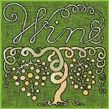 Wine pictogram woodcut Stock Photography