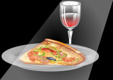Wine and pizza Royalty Free Stock Photos