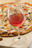 Wine and Pizza Stock Image