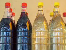 Wine in Plastic Bottles, Athens Markets Royalty Free Stock Photography