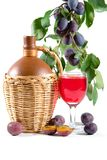 Wine and plums Stock Photography