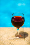 Wine and pool Royalty Free Stock Photos