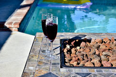 Wine by the Pool Stock Photography