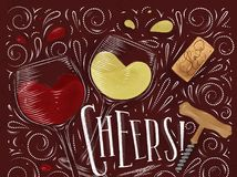 Poster cheers red. Wine poster lettering cheers with illustrated glass, cork, corkscrew and design elements drawing in vintage style on red background Royalty Free Stock Photography