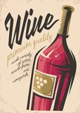 Wine poster. With red wine bottle on old paper background vector illustration