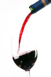 Red Wine Pour Alcohol into Stemmed Glass Royalty Free Stock Photo