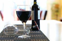 Wine poured in glass at home Royalty Free Stock Photography