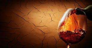 Wine on cracked clay background Stock Image