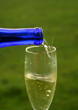 Wine pouring in glass outdoors Stock Photography