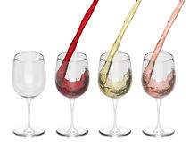 Wine Pouring Into Glass - Set Stock Photography