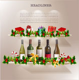 Wine and presents with hollies decoration Stock Image