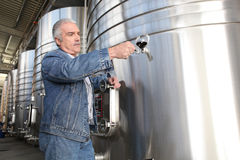 Wine producer stood by tanks Stock Photos