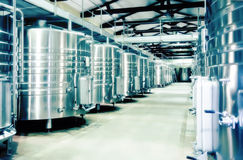 Wine production. Winery distillation space in wine factory Royalty Free Stock Photos