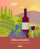 Wine Production Banner. Poster for Red Vine Royalty Free Stock Photo